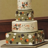 "Fun And Flirty Polka Dot Cake  This was for a couple that wanted a ""lounge themed"" wedding. They did walking hors d'oeuvres and a martini bar. This is what..."