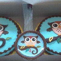 "Owl Cakes These are two 14"" chocolate cakes with buttercream icing and trimmed in chocolate buttercream. All other decorations are made of..."