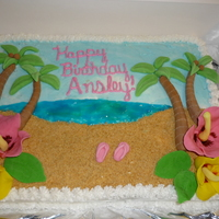 Tropical Themed Birthday Cake This was a chocolate cake with buttercream icing. Flowers, trees and flip flops were made from gumpaste. This was my first time working...
