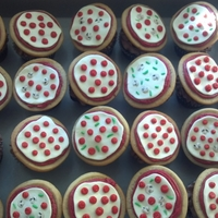 Pizza Cupcakes I made these for a pizza themed party. I used a sugar cookie for the crust, red icing for the sauce and marshmallow fondant for the cheese...