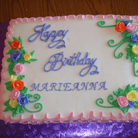 Happy Birthday One of 3 cakes done for and 85th Birthday. White cake with buttercream.