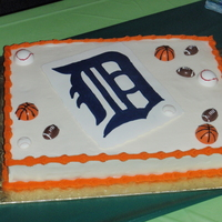 Detroit Birthday Cake 90th Birthday cake for a huge sports fan.