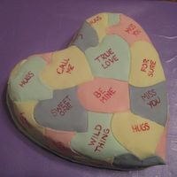 Conversation Heart Cake chocolate cake with cookies n creme filling. Covered in fondant. Used Wilton food coloring pen to write. Found idea on Wilton website and...