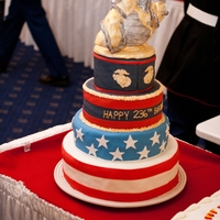 Marine Corps Birthday Ball  The topper is RKT covered in fondant. The eagle turned out a bit more parrot-ish than I would have liked, but I didn't have time to...