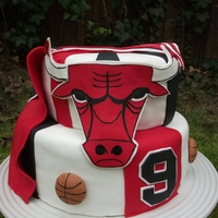 Chicago Bulls For a boy who loves the Chicago Bulls, and Michael Jordan especially. It was his 9th birthday, hence the 9s on the bottom.