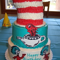 "Cat In The Hat Birthday Cake My friend was having a big first birthday party for her daughter with a Dr. Seuss ""Cat in the Hat"" theme. This is what I came up..."
