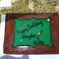 Pool Table Cake Cake i made for a friend and his son, they both love to play pool...chocolate cake with chocolate buttercream