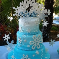 Winter Wonderland Winter wonderland party, snowflake themed cake to go with. Sugar paste and poured sugar snowflakes, painted with rainbow disco dust and...