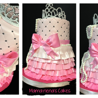 Princess Cake   Girlie princess cakePink, ruffles, bows and pearls