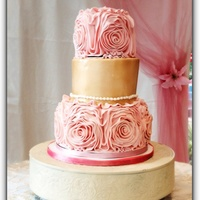 Ribbon Rossette Wedding Cake   Beast was my first time doing the ribbon rose setI was very happy with it
