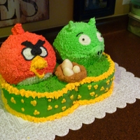 Angry Birds Cake Angry Bird, Pig and Nest with Eggs.