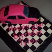 Honda Cake Car On A 1/4 Sheet For Race For The Cure Breast Cancer Awareness   customer's car modeled in cake sat on a 1/4 sheet.