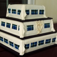 Scottish Themed 100% Edible Thompson Blue Tartan Cake  3 tiered Scottish themed wedding cake, chocolate cake, filled with fresh raspberries topped with milk chocolate ganache, covered in 1/2...