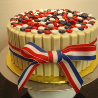 Happy 4Th Of July! Patriotic Candy Barrel Cake I made for our annual BBQ on the 4th of July!