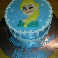 Elsa Bday Cake Hand made frozen icing image