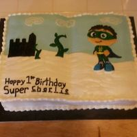 Super Why 1St Bday Cake Super Why, castle, and bean stalks were hand made frozen icing images