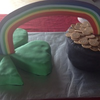 St. Patrick's Day Grooms Cake Fondant covered with gum paste rainbow and fondant gold coins
