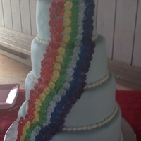 Rainbow Wedding Cake Fondant covered cake with small gum paste flowers and monogram