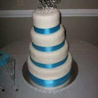 Fondant Wedding Cake *Fondant covered with sugar pearls and ribbon