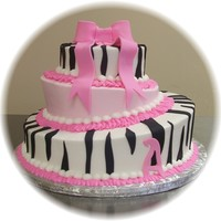 Zebra And Pink Baby Shower   Butter cream with fondant stripes and bow