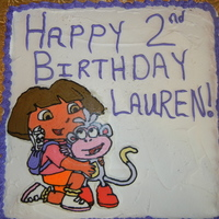 Dora & Boots Frozen Buttercream Transfer I did for my daughter's 2nd Birthday. No where near perfect, but she loved it.