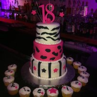 Animal Print Cake Hi, I made this cake for my friends daughter and her friend. They where celebrating their 18th birthday. Animal print, hot pink and black...