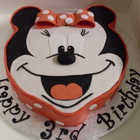 Minnie Mouse Cake   Minnie Mouse face all cut by hand.