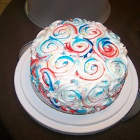 Memorial Day Cake Buttercream roses, small Gold star glitter..WASC on the inside made to look like American flag