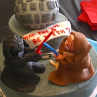 Star Wars 5Th Birthday Cake Gluten Free/Dairy free/nut free...etc. cake. Chocolate/chocolate DF buttercream filling on the bottom and vanilla/vanilla on the top. All...