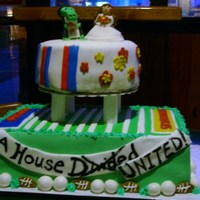 House Divided Noles/gators Cake  Made this for a Rehearsal Dinner based on the Groom's favorite thing...college football! The Bride is a Nole and the groom is a gator...