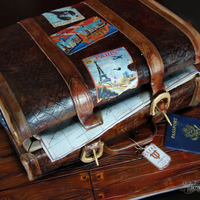 Traveling Suitcase Grooms Cake  This is a 100% edible suitcase cake made of 100 servings of chocolate cake. In this cake I was trying to master the texture of the wood and...