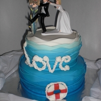 Oh No Ya Don't ;) 2 tiered wedding rehearsal cake with nautical theme