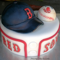 Red Sox Groom's Cake Hat and ball are RCT covered with fondant. Bat is a giant pretzel covered with fondant.