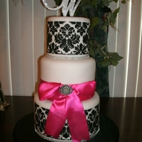 Black And White Demask With Pink Bow Fondant covered 6 inch tiers. Black BC for stencil.