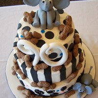 Elephants Love Peanuts I made this for a woman turning 90! She loves elephants and wanted a black and white elephant cake that was whimsical. It was fun to create...