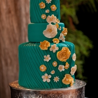 "Whimsical Pleated Wedding Cake I love the look of pleated fondant. This cake was huge, the bottom tier is a double tier and was 10"" tall. All decorations are fondant..."