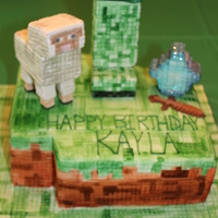 Minecraft Cake The creeper, sheep and diamond were made of RKT and everything was hand painted