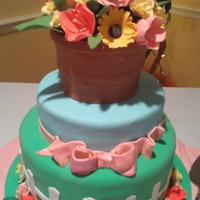 Garden Cake I made this for a 70th Birthday. All of the flowers are gumpaste and everything else is fondant. Thanks for looking!