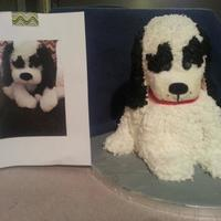 The Customer Asked Me To Make A Dog Cake That Matched Her Daughters Favorite Stuffed Puppy That Is In The Picture *The customer asked me to make a dog cake that matched her daughter's favorite stuffed puppy that is in the picture :).