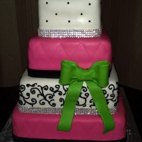 Colorful Wedding 6,8,10 and12 cakes all different flavors, and bling!