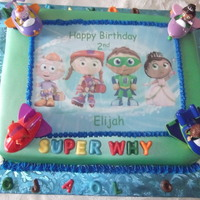 Super Why! I made this for my nephew for his 2nd b-day. It is chocolate cake w/fudge filling and MMF, airbrushed and decorated.