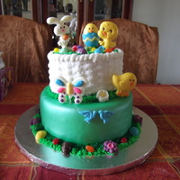Easter Cake This is a cake that I made for an auction. The basket is red velvet w/ cream cheese filling and the bottom is yellow cake with buttercream...