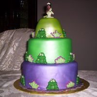 Princess Tiana Cake I made this cake for my daughter's 5th b-day. Tiers are chocolate, strawberry, and yellow cake,covered in MMf, airbrushed and...