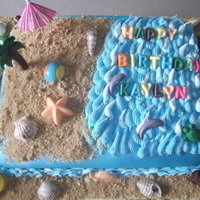 Happy Beach Birthday! This cake was made for a beach themed birthday party, choc. cake with dark fudge filling, any comments or critiques are most appreciated,