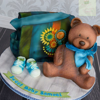 "Baby Shower Diaper Bag Cake And Teddy Bear Cake carved diaper bag cake from 10"" square, and teddy bear carved from 5"" cake, RKT head, fondant shoes. Thank you for looking!"
