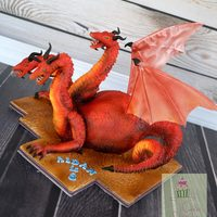 Three Headed Dragon-Hydra Cake A cake I made for my son's bday today. Carved 7 inch cake, was so fun to make. Wafer paper wings. thanks for looking!