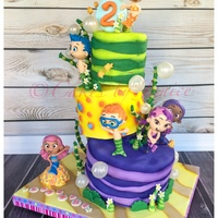 Bubble Guppies Cake 6 8 10 Topsy Turvy Crooked Cake Mcfondant Figures And Gelatin Bubbles Bubble guppies cake 6-8-10 topsy turvy crooked cake mc/fondant figures and gelatin bubbles