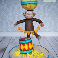 Curious George Inspired Cake Balance Cake Circus Act A cake I made for my son this past week inspired by his favorite cartoon character in TV