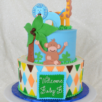 Jungle Themed Baby Shower Safari Themed Baby Shower Cake. BC w/ fondant and modeling chocolate decor.