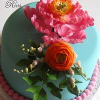 Peony Ranunculus Arrangement Birthday Cake Floral arrangement made out of peony, ranunculus, lilies of the valley and foliage.....